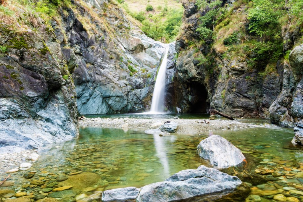 Waterfall jump in the Lake of Rocks., named Goja del Pis, near Turin (Italy)